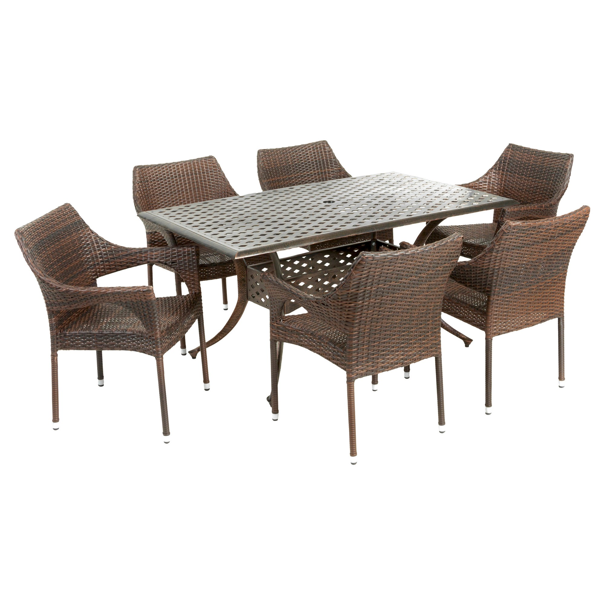 Cliff 7pc Rectangular Outdoor Cast Aluminum and Wicker Dining Set ...