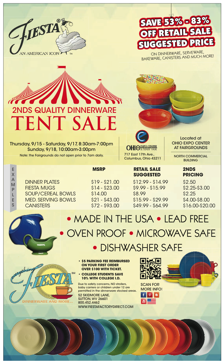 Columbus blog Fiesta dinnerware, Tent sale, Fiestaware