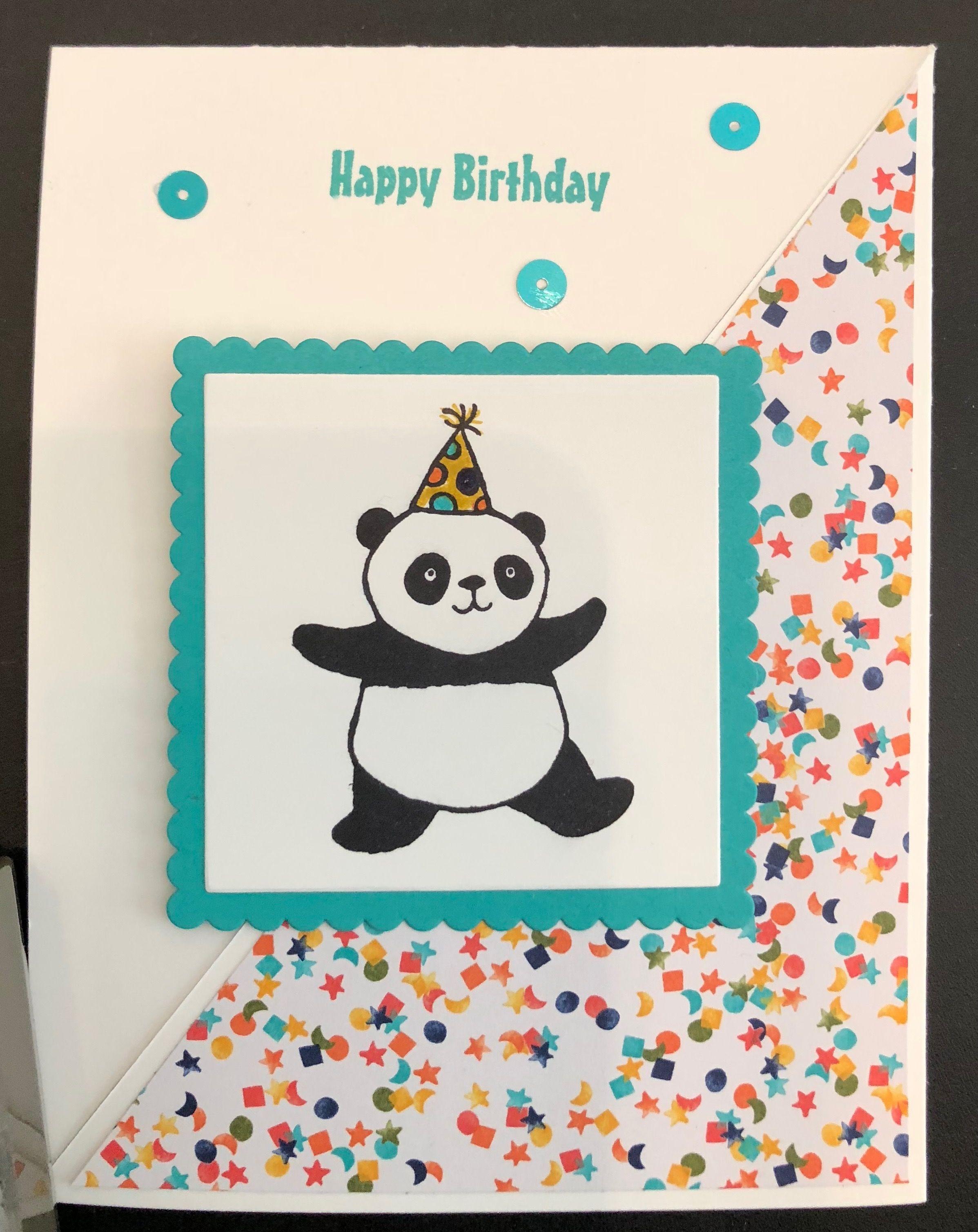 Party Pandas Birthday Card Panda Card Old Birthday Cards Panda Birthday Cards