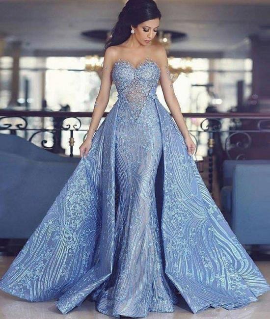 Luxury Blaues Abendkleid A Linie Spitze Abendkleider ...
