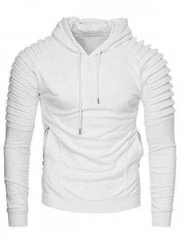 Casual Solid Pleated Zip Pocket Fleece Hoodie