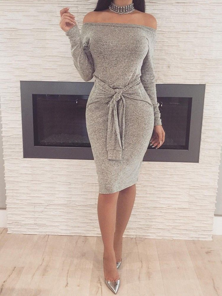 9a2701586fce Trendy Off Shoulder Knotted Bodycon Dress   My board in 2019 ...