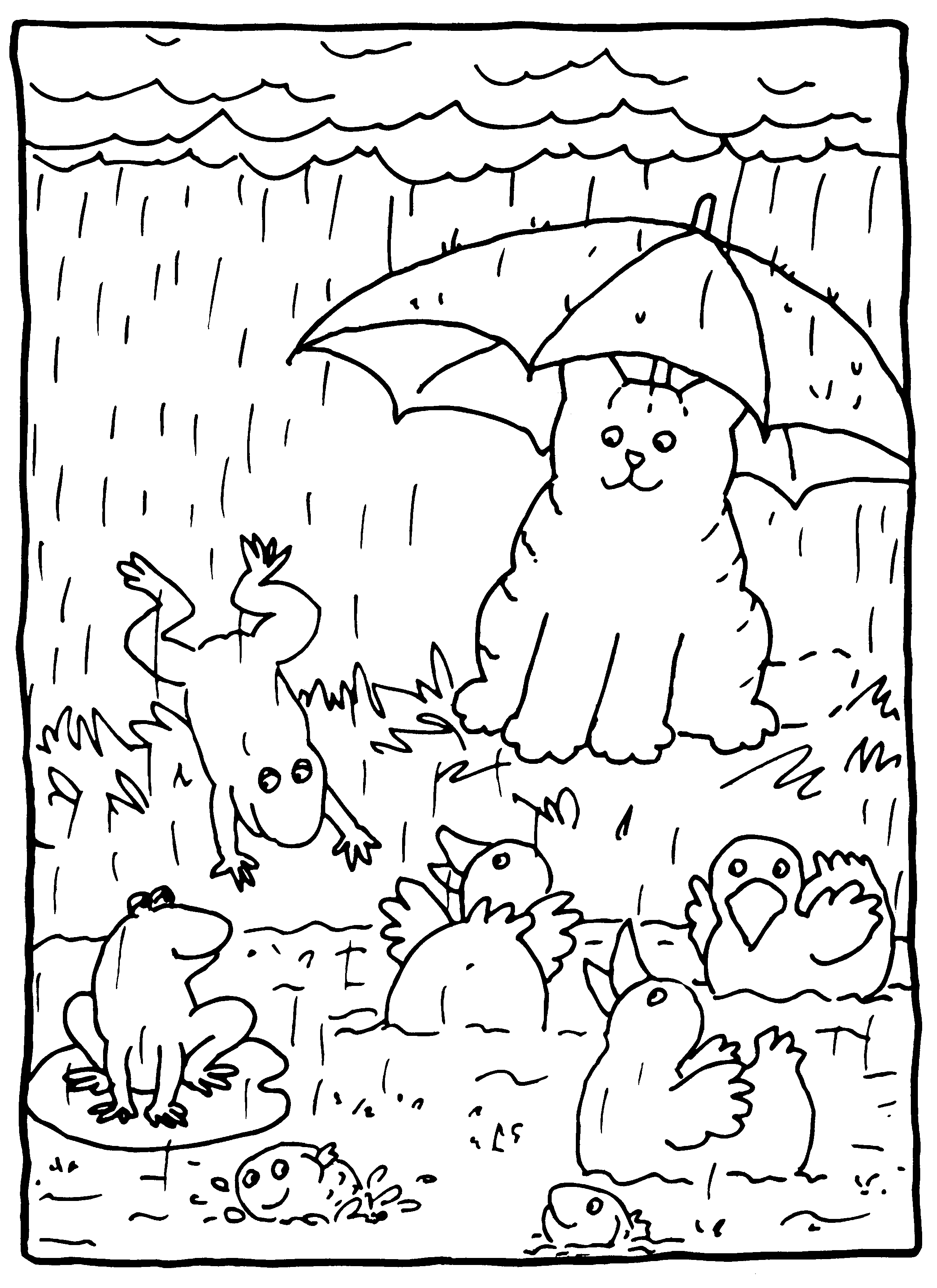 dikkie dik in de regen kleurplaten