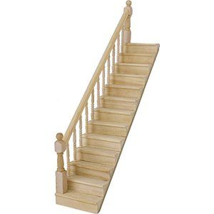 Best 1 12 Dollhouse Pre Assembled Staircase Wooden Stair Stringer Step With Left Handrail By Generic 400 x 300