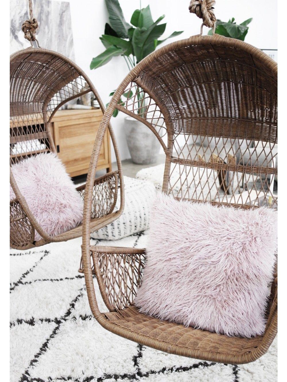 Dekla faux fur pillow blush hanging rattan chair