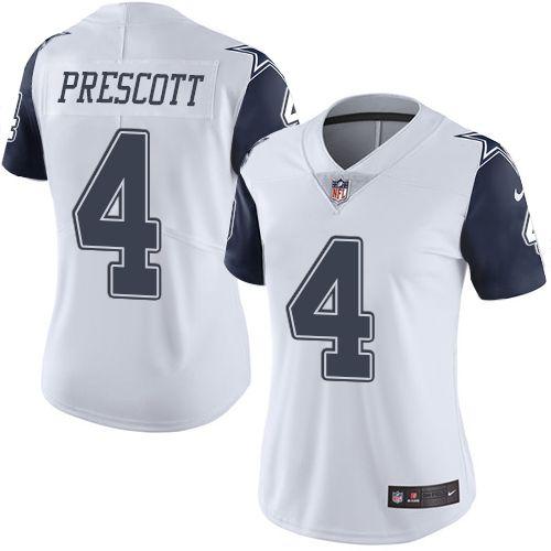 fa77de29e Nike Dallas Cowboys Women s  4 Dak Prescott Limited White Rush NFL Jersey