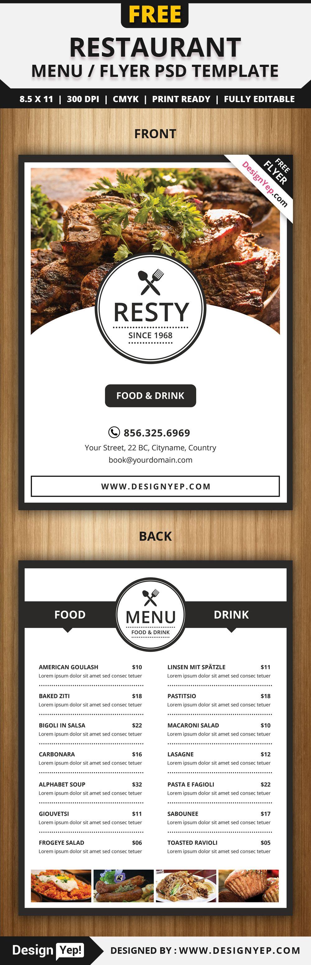 Menu Flyers Free Templates | Free Restaurant Menu Flyer Psd Template Mexico Pinterest