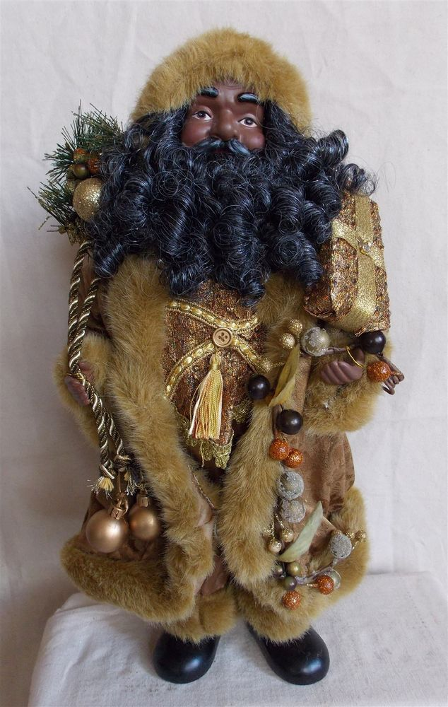 Inch standing gold african american black santa claus