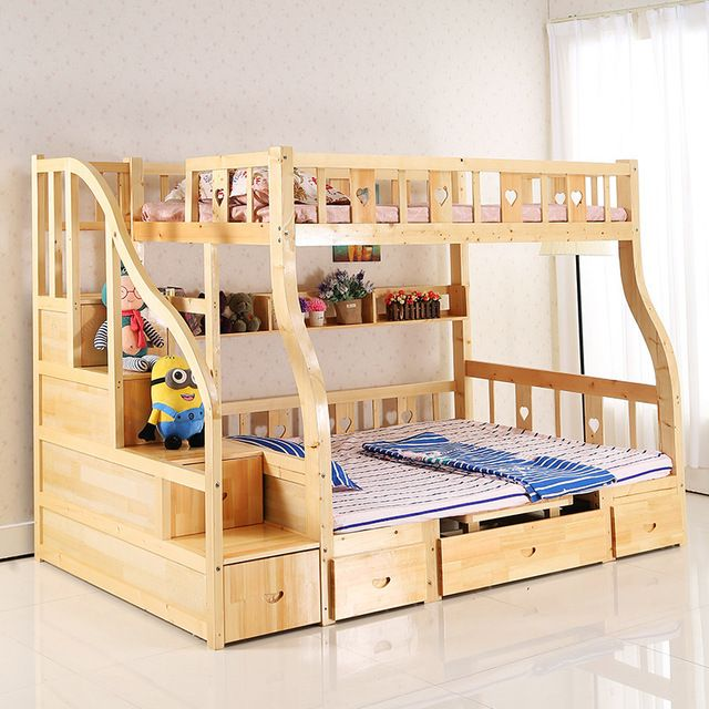 Los ni os de cama litera multifunci n madera ni os for Literas de madera para ninos