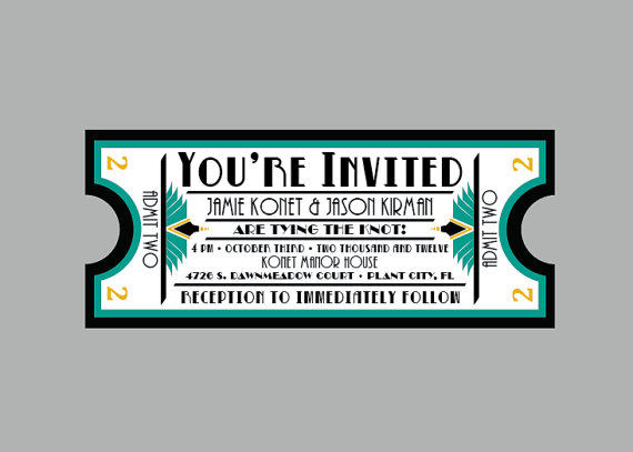 Vintage  S Antique Art Deco Movie Ticket Wedding Invitation