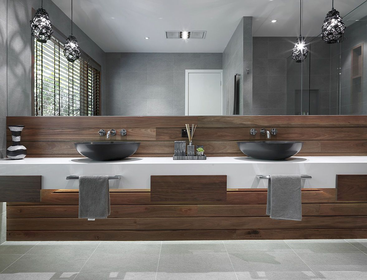 White Solid Surface (Corian Type) Vanity Shelf Grey Countertop Basins And Oak Panelling Apaiser