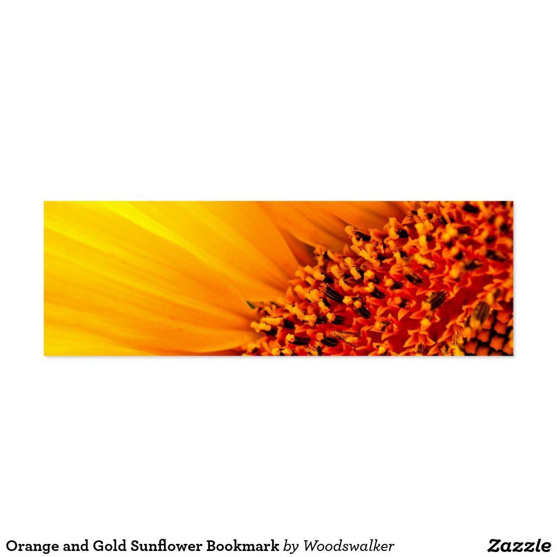Orange and Gold Sunflower Bookmark Mini Business Card Designed by Woodswalker on www.zazzle.com/woodswalker*/