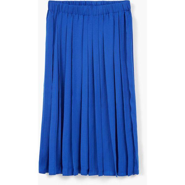 MANGO Pleated Skirt ($30) ❤ liked on Polyvore featuring skirts, blue skirt, pleated skirt, mango skirts, blue pleated skirt and elastic waist skirt