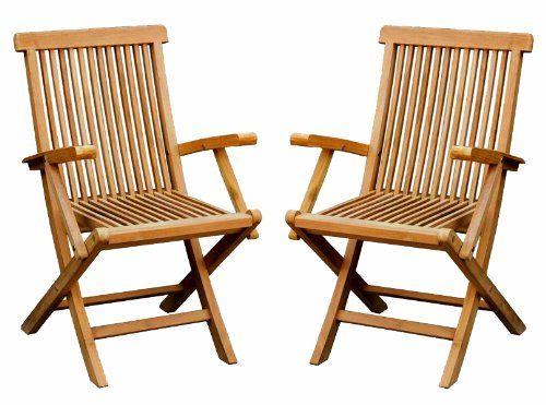 Bentley Garden Pair Of Solid Wooden Teak Garden Outdoor Folding Arm