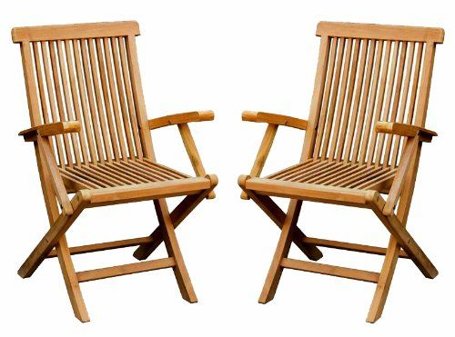 wooden garden chairs uk expensive office bentley pair of solid teak outdoor folding arm amazon co outdoors
