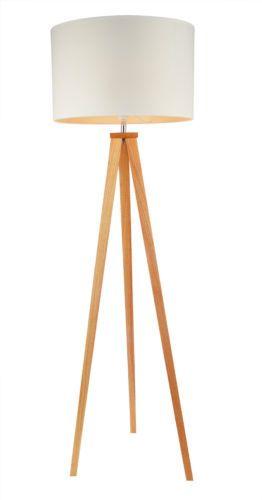 tripod stehlampe stehleuchte weiss holz standlampe design deckenfluter eiche leuchten. Black Bedroom Furniture Sets. Home Design Ideas