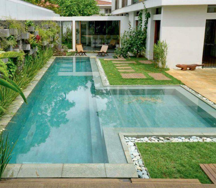 Garten Gestalten Bilder Schwimmbad Steine Moderner Außenbereich