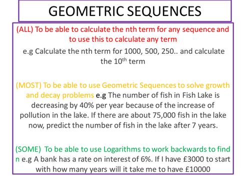 GEOMETRIC SEQUENCE.ppt | Maths Higher | Pinterest