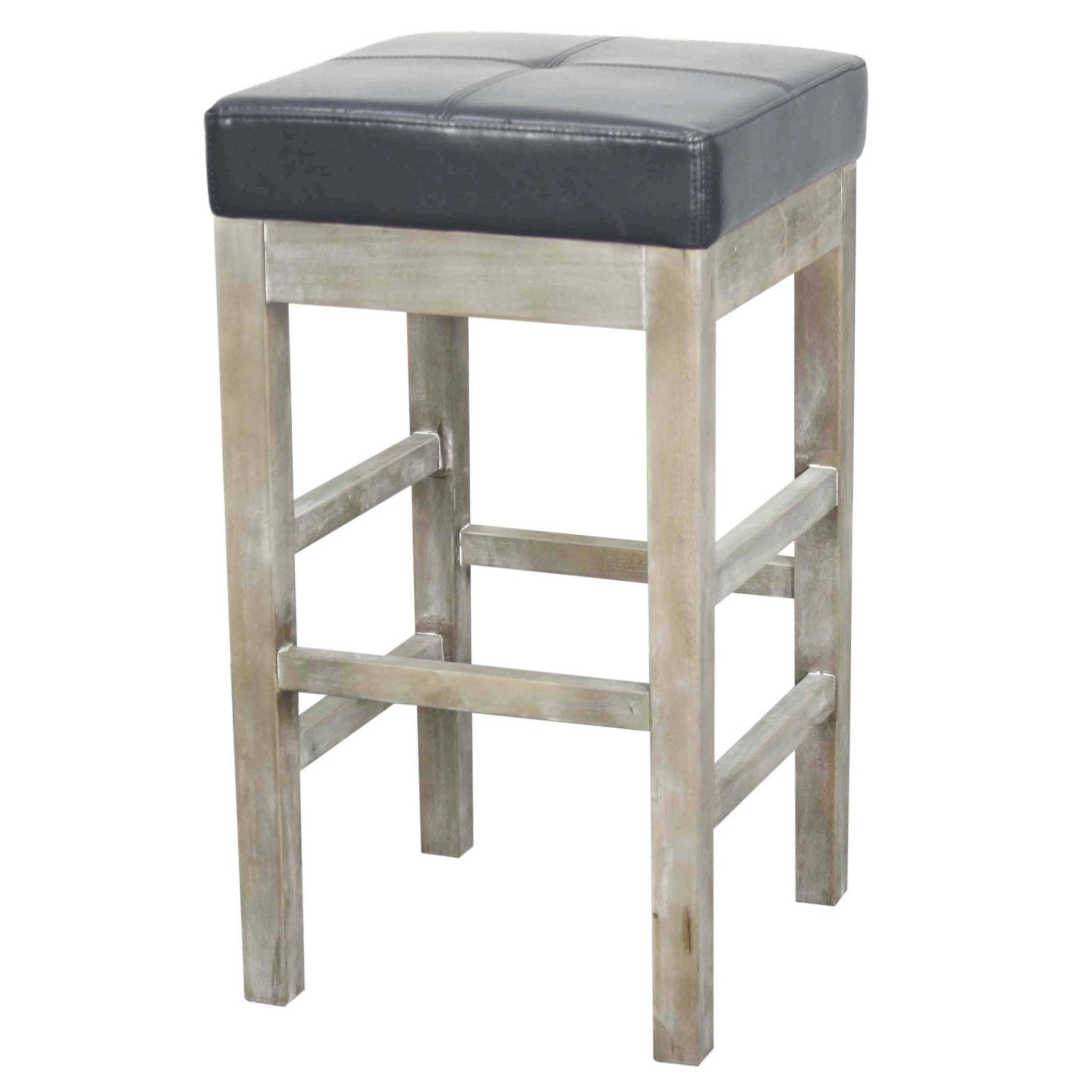 Valencia Bonded Leather Backless Counter Stool Mystique Gray Legs