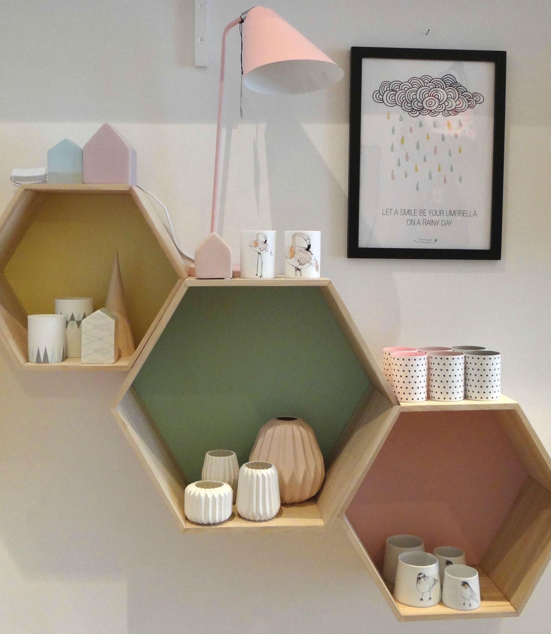 Bloomingville hexagon shelf set - Google Search   Deco ...
