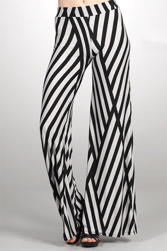 Geometric Print Wide Leg Palazzo Long Gaucho Pants-White & Black ...