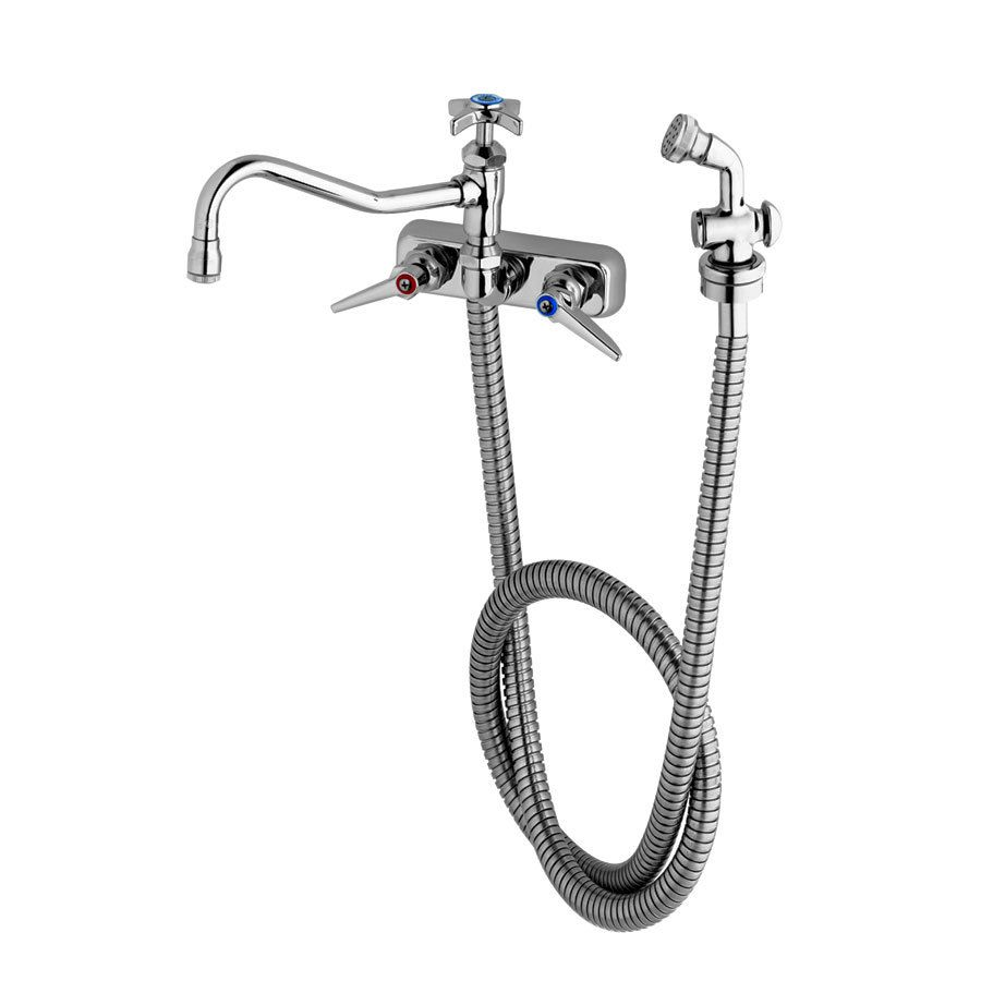 T S B 1157 Wall Mounted Workboard Faucet With Spray Valve And 8 Centers 8 Swing Nozzle Faucet Stainless Steel Hose Wall Mount Faucet