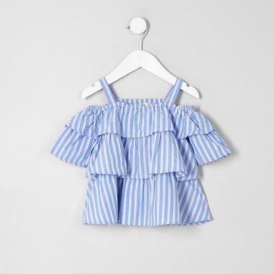 2712c76b435 Mini girls blue frill cold shoulder top - Baby Girls Tops - Mini Girls -  girls