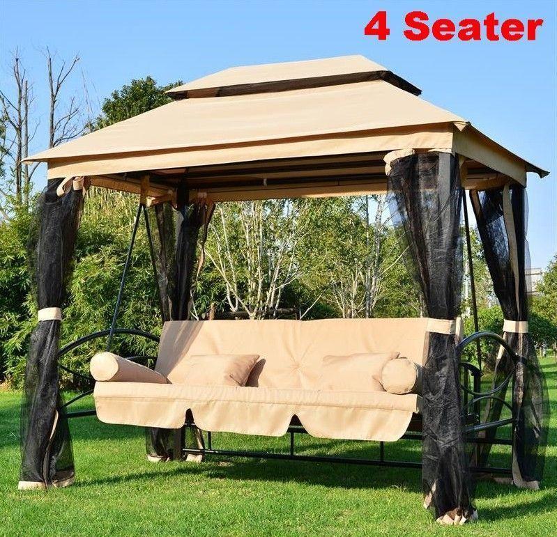 Heavy duty gazebo garden swing chair 4 person bed hammock