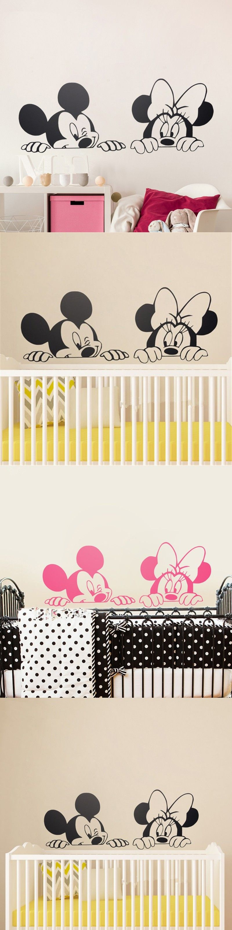 cartoon mickey minnie mouse cute animal vinyl wall stickers mural wallpaper baby room decor. Black Bedroom Furniture Sets. Home Design Ideas