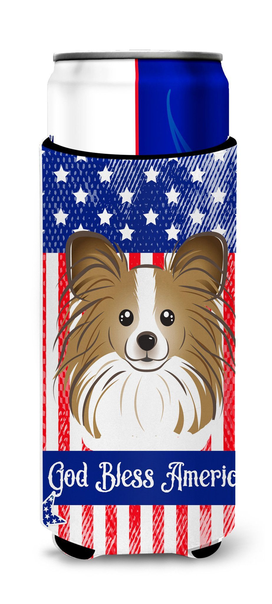 God Bless American Flag with Papillon Michelob Ultra Beverage Insulator for slim cans BB2178MUK