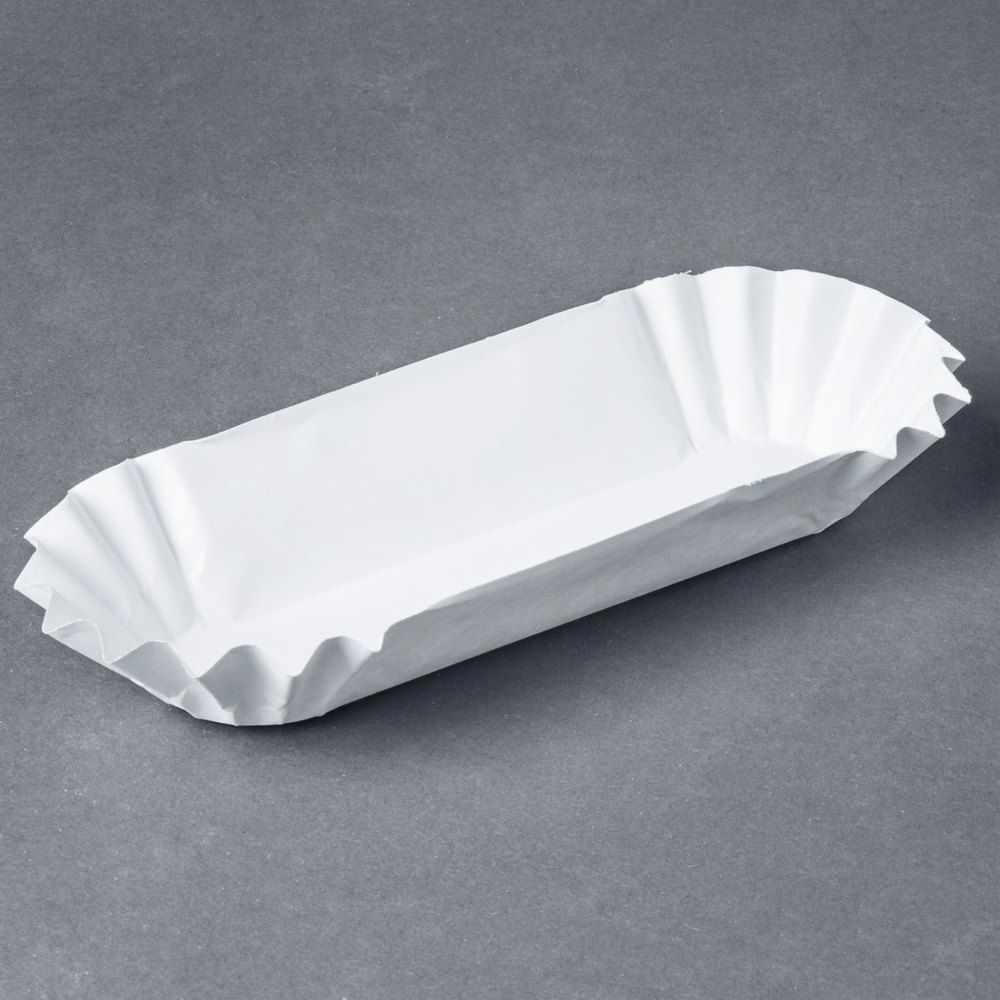 "Heavy Weight 6"" White Paper Fluted Hot Dog Tray 500/Pack"