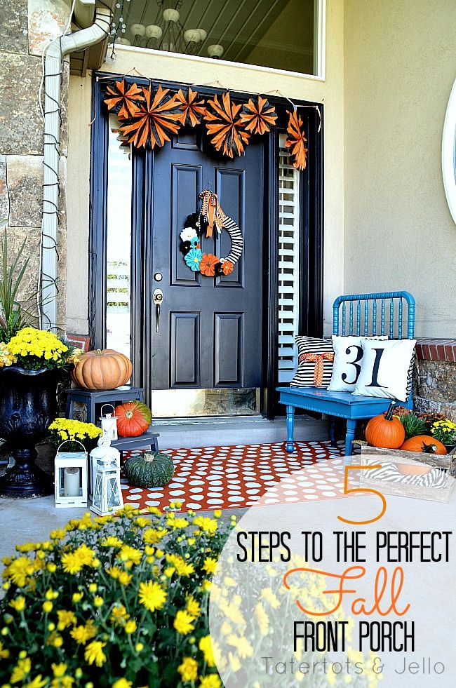 5 Tips to Creating a Beautiful Fall Front Porch Front porches - decorating front porch for halloween