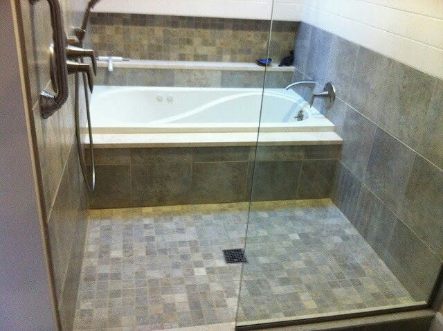 Walk through shower with bath tub tandem tile showers for Walk through shower plans