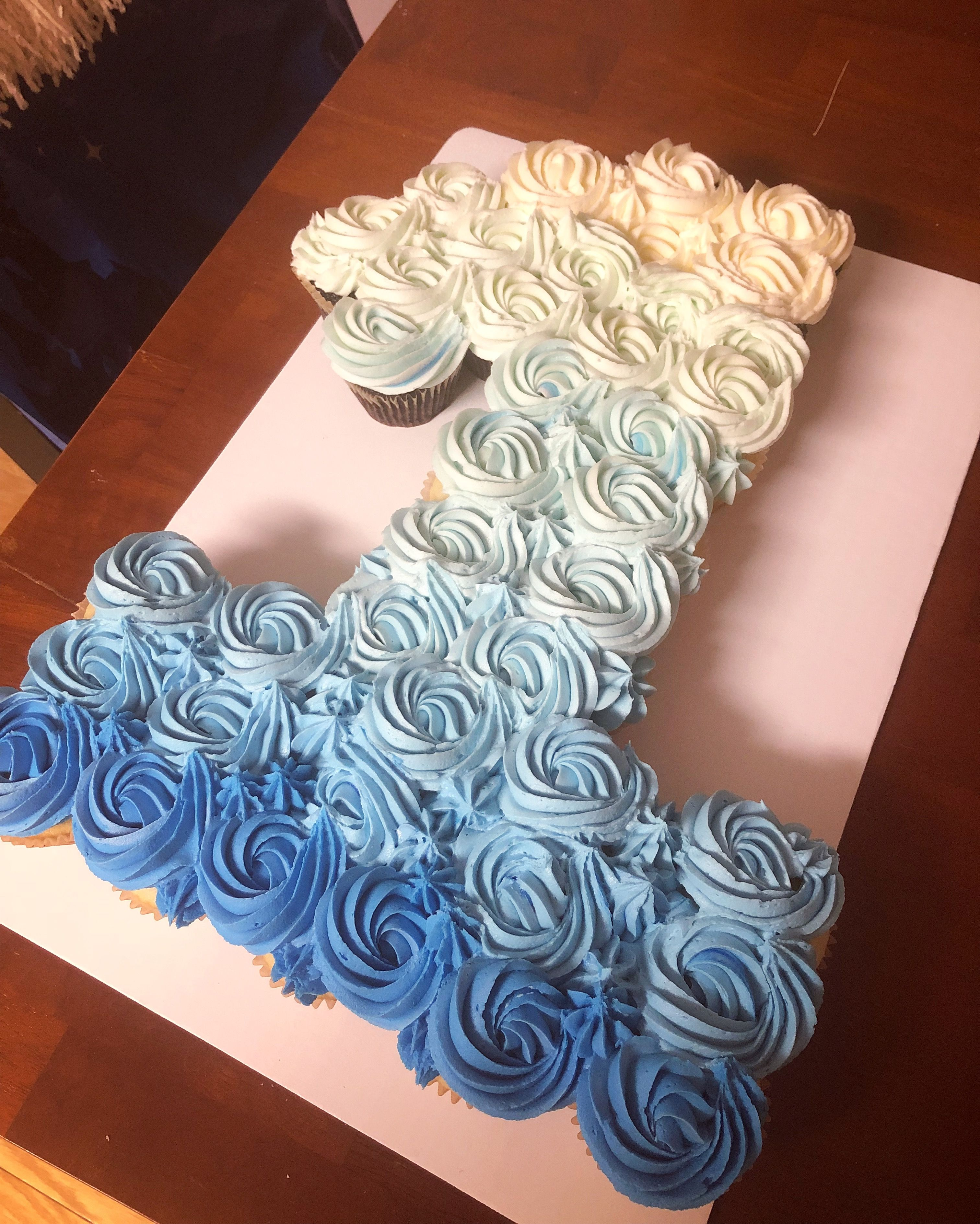 Pull Apart Cupcake Cake Boy Ombre First Birthday Birthday