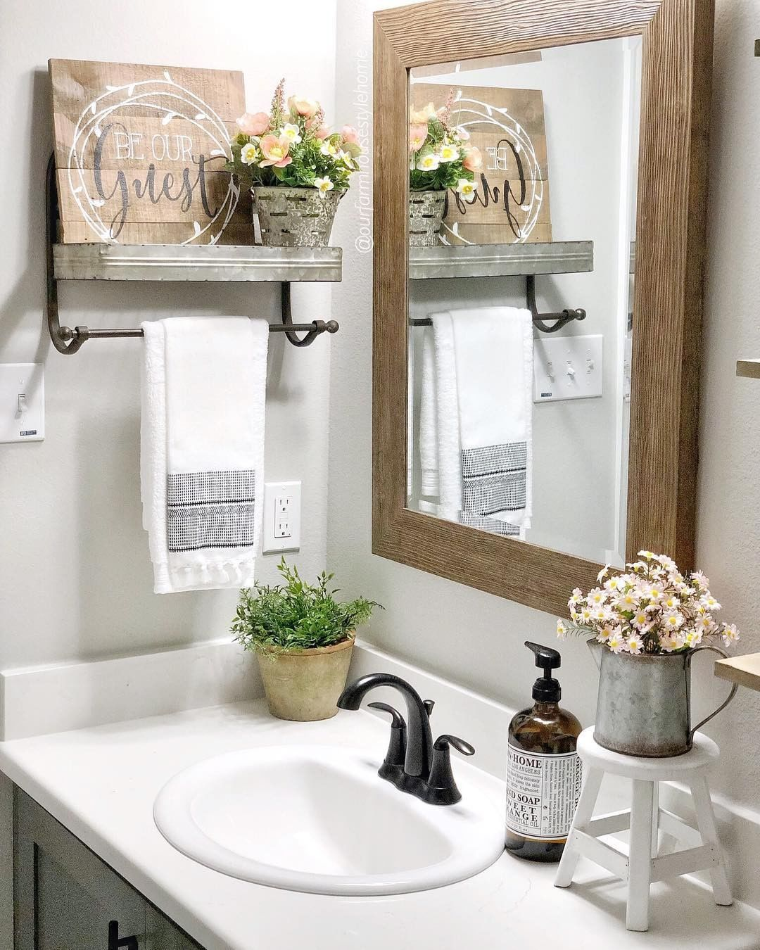 Decorsteals Com On Instagram Your Guest Spaces Need Love Too Ourfarmhousestylehome Thought It Was T Guest Bathroom Decor Bathroom Decor Bathroom Styling