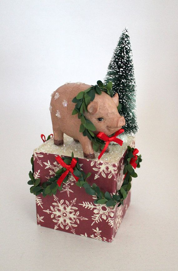 christmas pig decoration pink version 1 by thebakersdaughter 1800