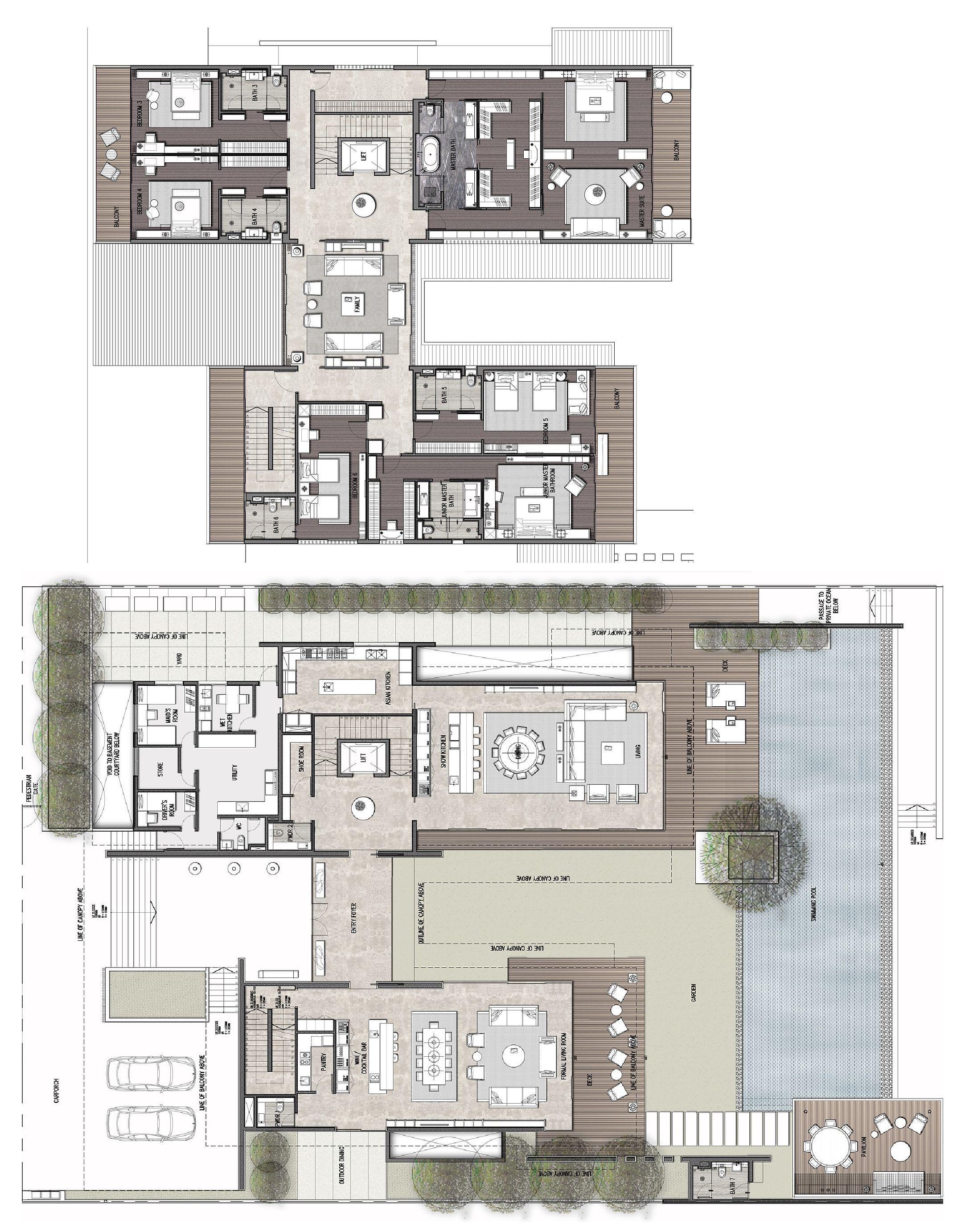 The Edition Sanya 3 Storey Residential Villa Type A2 Color Plans Interiordesign Hotel Floor Plan Building Plans House Architectural Floor Plans