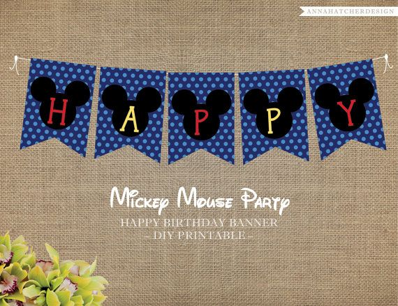 Mickey Mouse Party DIY Printable Happy Birthday Banner Add