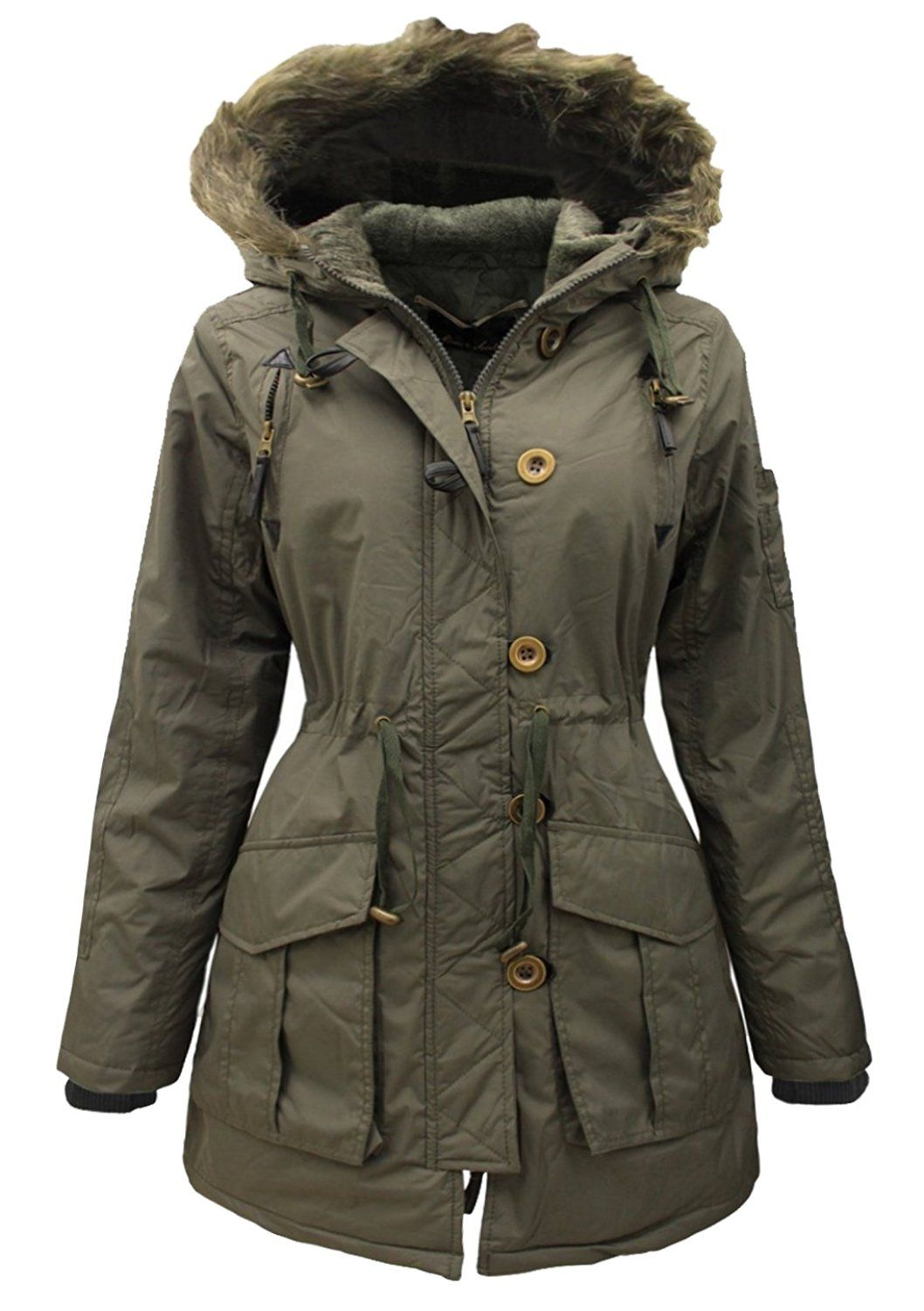 3ed1c793889cb NEW WOMENS Ladies Plus Size Parka MILITARY Quilted HOODED Winter Coat SIZE  18-24 (8, KHAKI)