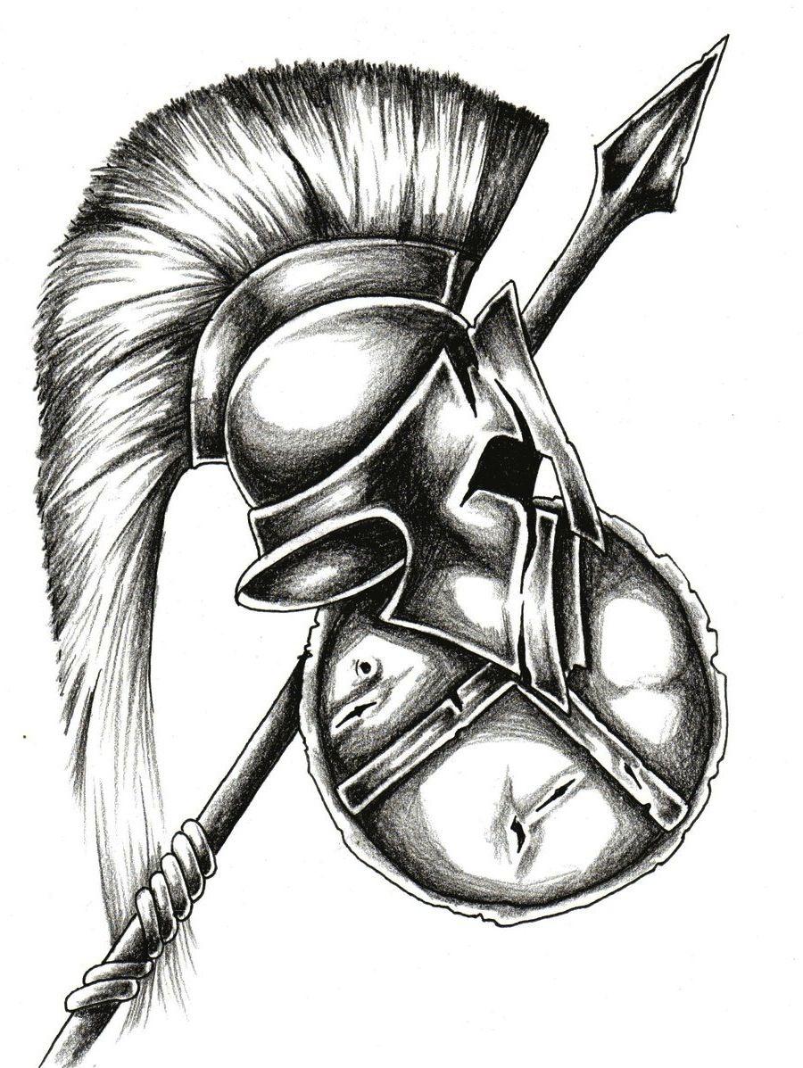 Spartan Helmet Weapon And Shield Tattoo Design ...
