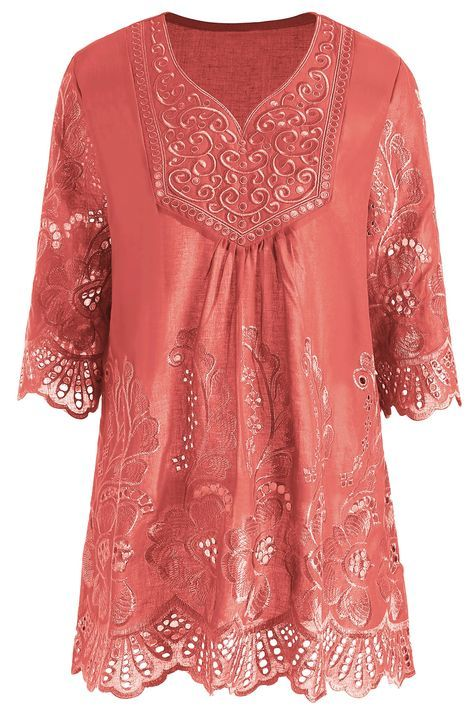 0bd866331b9e02 V Neck Embroidered Plus Size Tunic Top   Dream wardrobes   Tunic ...