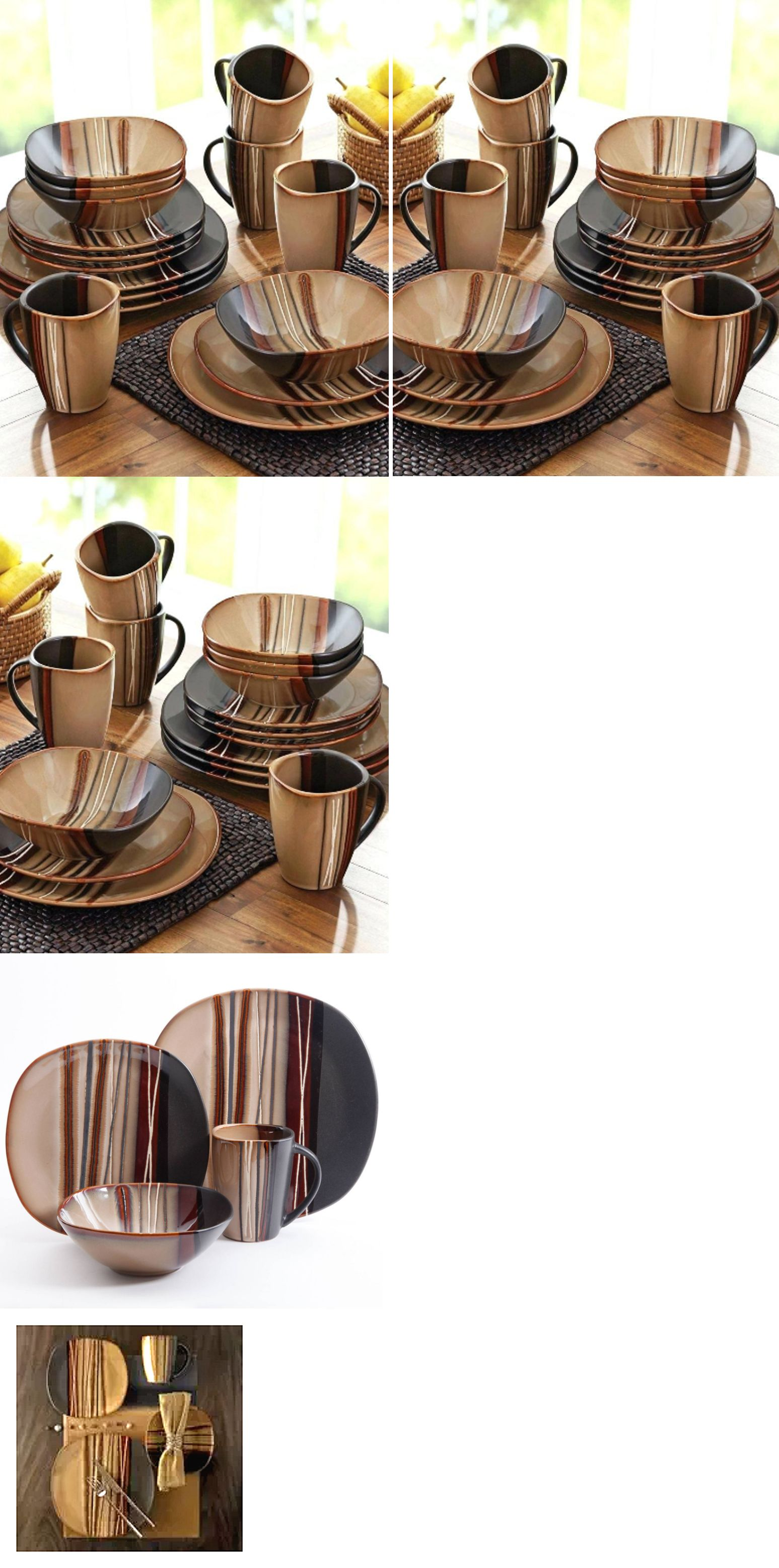 Kitchen China Dishes Island Range Dinner Service Sets 36032 32 Piece Square Dinnerware Set Stoneware Plates Mugs Brown Buy It Now Only 99 On Ebay