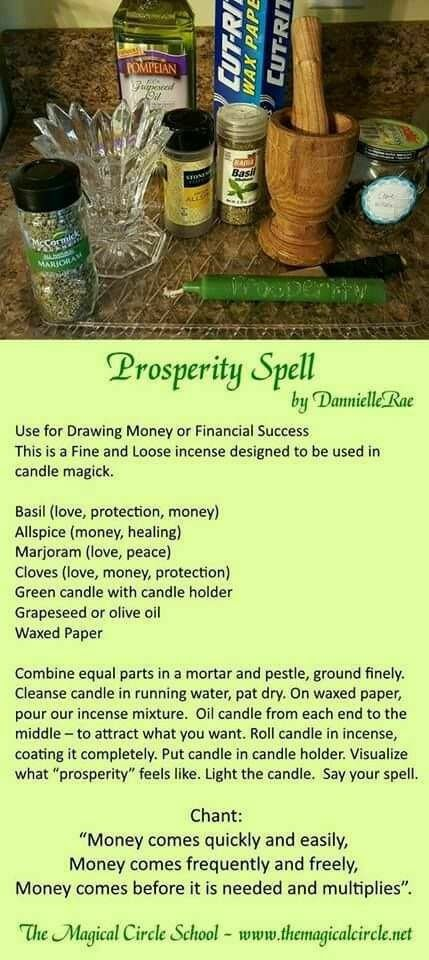 Pin By Sherry Dibble On My Wicca World Luck Spells Candle Spells Prosperity Spell