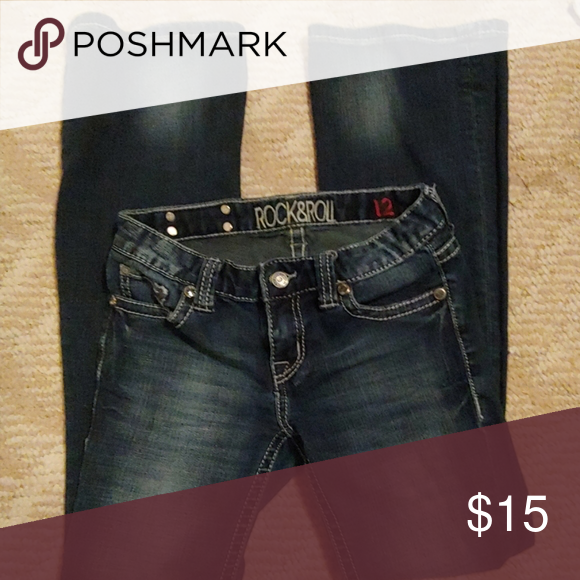 Size 12 rock and roll jeans Size 12 rock and roll jeans barely worn Rock & Roll Cowgirl Bottoms Jeans #rockandrolloutfits