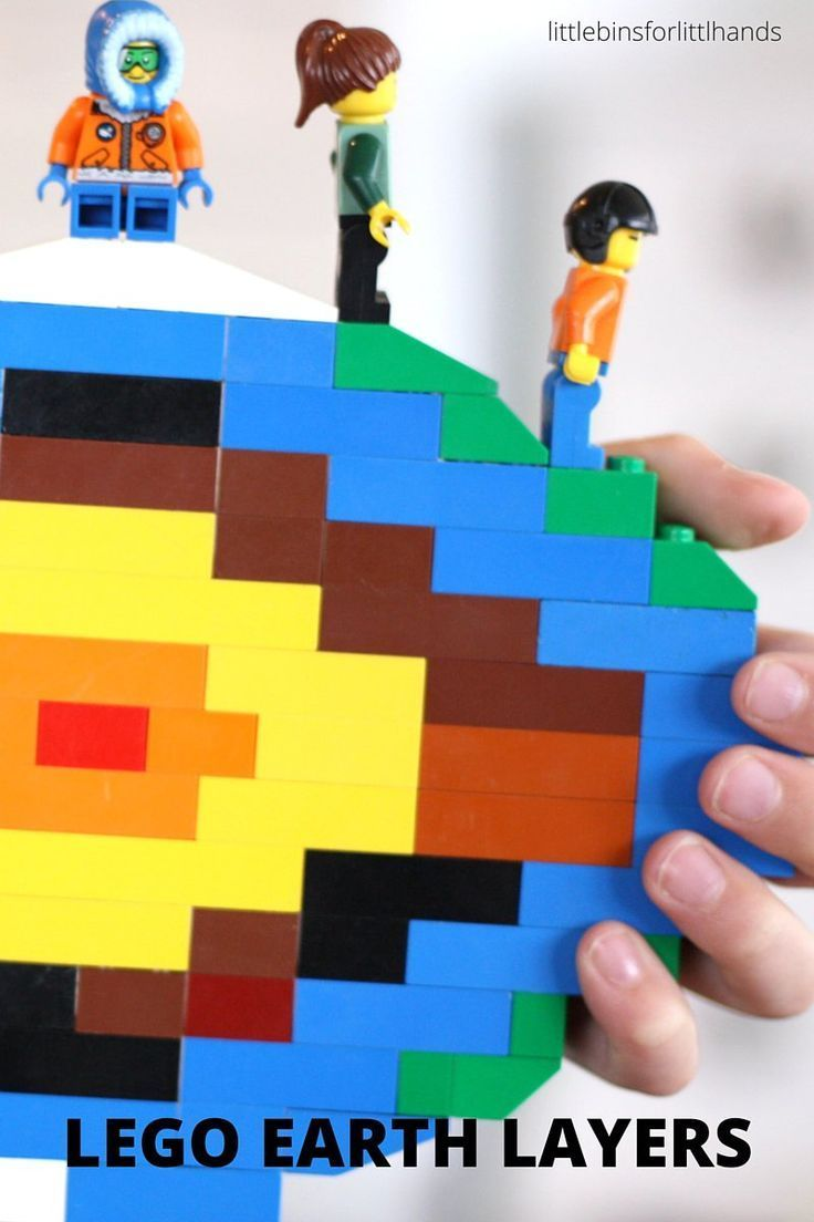 LEGO layers of the earth activity for earth science STEM. Learn about the Earth's crust and what is beneath it by building a slice of the Earth with LEGO.
