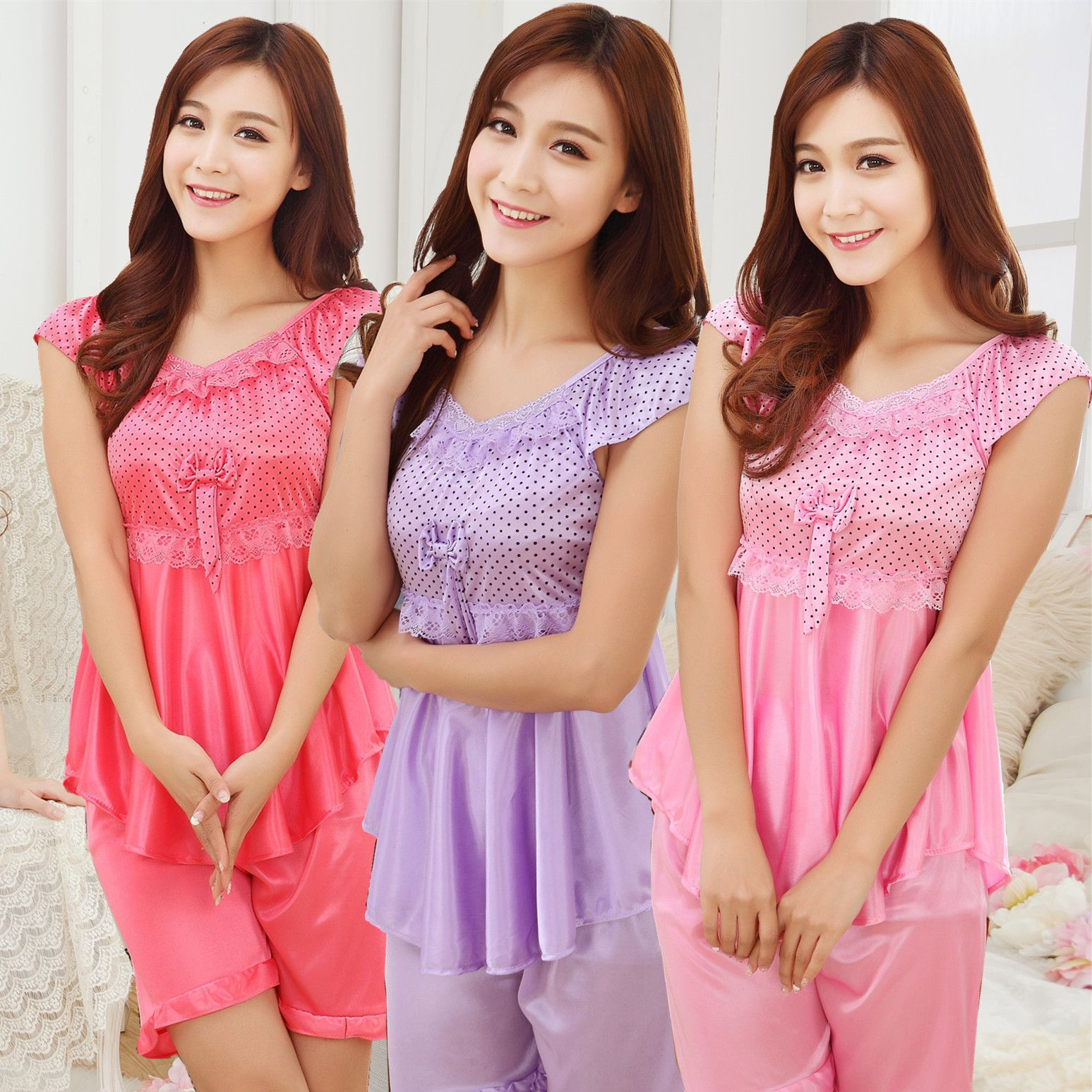 d67e5dd8d53a New Summer Ladies Pyjama Sexy Silk nightgown Short sleeved Lace Nightwear  Rose Pajamas Set Two piece Pijamas mujer Women Set