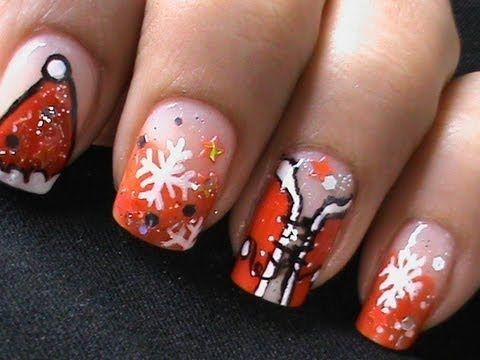 Sexy Santa Girls - Christmas Nail Art Tutorial - Easy Nail Polish Designs Long / Short Nails Cute