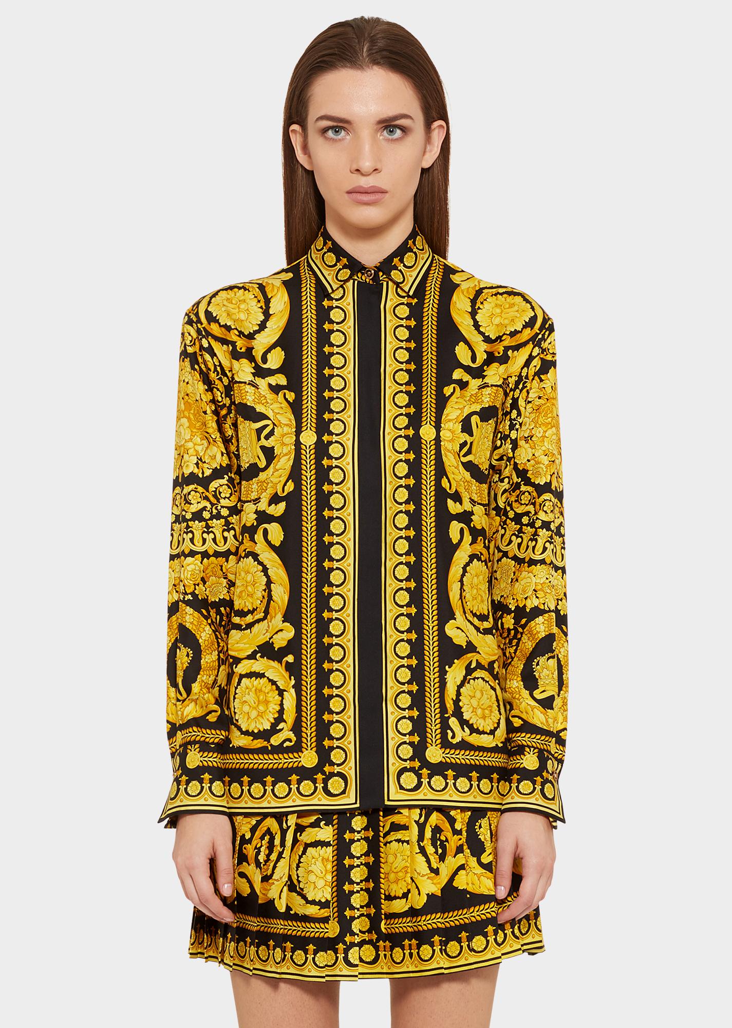 dernier style lisse vif et grand en style Barocco FW'91 Print Silk Shirt for Women | Official Website ...