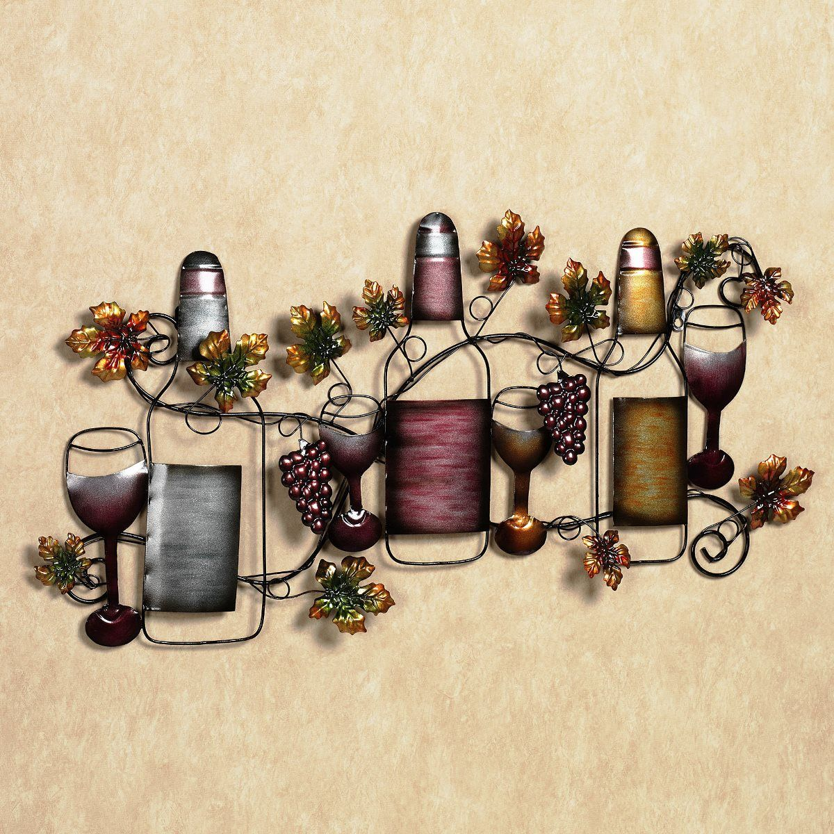 Simple And Home Furnishings Attractive Wall Decor With Custom Wall Decals  Glass Images , Bottle Grapes Flowers Are Colorful