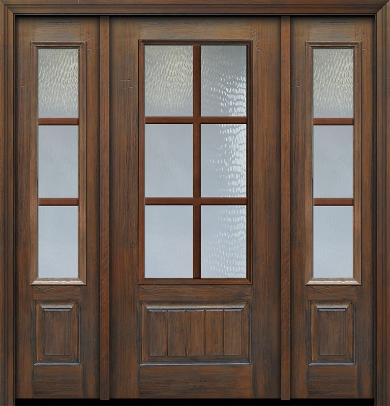 Colonial Exterior French Patio Door 1 3 4 By Glasscraft In Door With Two Sidelites In Fiberglass And The Patter In 2020 French Doors Patio Laminated Glass Paneling